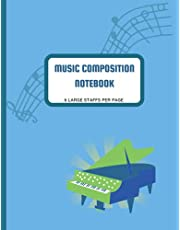 Music Composition Notebook: Glossy Blue Piano Cover, 8.5x11 size, 80 pages, 6 large staffs per page