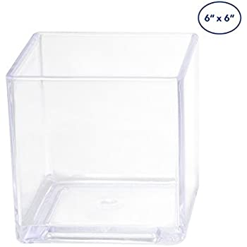 Amazon Com Homeford Fbb00vasq666 Clear Acrylic Cube Vase Display 6 Quot X 6 Quot Home Amp Kitchen