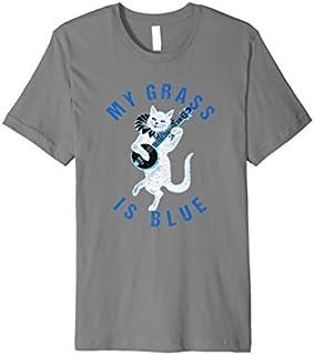 My Grass Is Blue Banjo Cat -Bluegrass Fan Premium T-shirt   Size S - 5XL