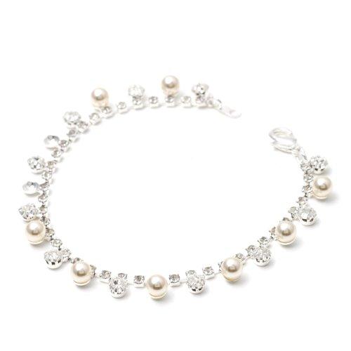 Topwholesalejewel Silver Crystal Rhinestone Round Shape Stone & White Pearl Combination Link Bracelet