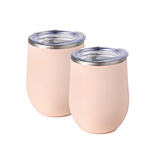 (Maars Bev Stainless Steel Stemless Wine Glass Tumbler with Lid, Vacuum Insulated 12 oz - Blush Pink Semi Matte Cup | Spill Proof, Travel Friendly, Classic Cocktail Drinkware - 2 Pack Set)