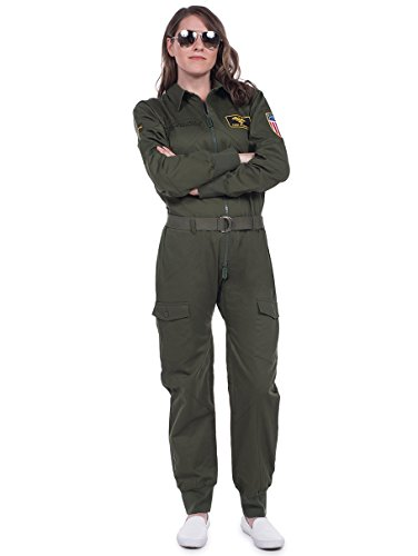Women's Pilot Halloween Costume - Green Pilot Jumpsuit: XX-Large -