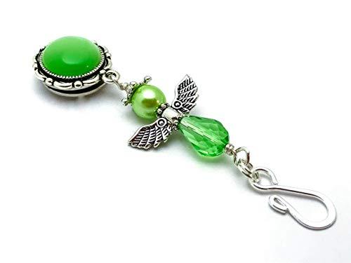Green Angel Portuguese Knitting Pin- ID Badge Holder