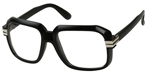 Basik Eyewear - Big Hipster Retro 80's MC Rapper Clear Lens Hip Hop Eye Glasses (Black w/ Silver, - Retro Silver Glasses