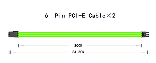 uphere Sleeved Cable - Cable Extension for Power Supply with Extra-Sleeved 24-PIN 8-PIN 6-PIN 4+4 PIN - Green with Cable Combs(11.8 inch/ 30CM),SC303