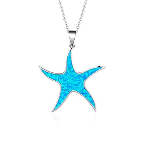 FANCIME Sterling Silver Opal Starfish Pendant Necklace Long Chain Dainty Big Pendant Jewelry for Women Girls 16