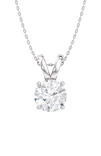 Diamondere Natural and Certified Diamond Solitaire Necklace in 14k White Gold | 0.30 Carat Pendant with Chain