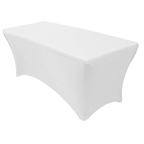 TRLYC 8FT Fitted Spandex Lycra table cloth Fitted Trestle Tablecloth Stretch,White