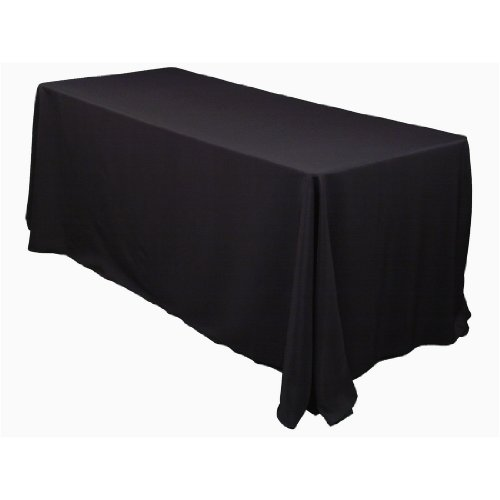 LinenTablecloth 90 x 132-Inch Rectangular Polyester Tablecloth Black