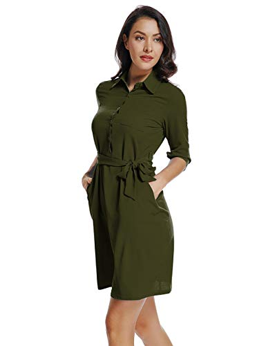 (Mia Pristine Womens 3/4 Roll up Sleeves V Neck Spread Collar Belted Button up Shirt Dress, Army Green, L)