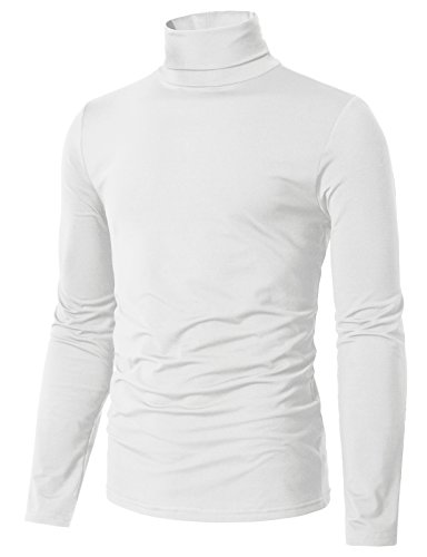 H2H Men's Dri-Fit Turtle Neck Long Sleeve Athletic Peformance Shirt Sweater White US L/Asia XL (CMTTL098) Athletic Long Sleeve Sweater