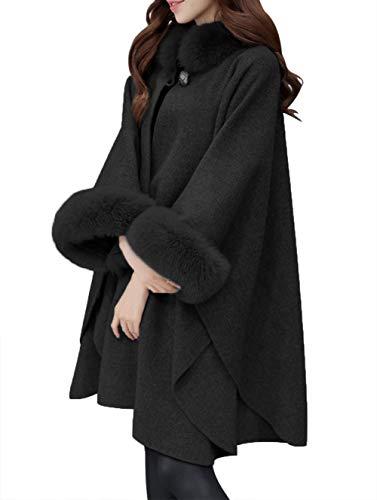 Innifer Women Winter Oversized Faux Fox Fur Collar Cashmere Poncho Capes Outwear Cloak Coat Black