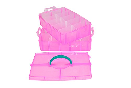 (Toy and Craft Organizer Case Small Pink Multi Layer Tote With Adjustable Compartments For Small and Large Items)