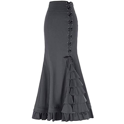 RAINED-Women Ruffle Vintage Fishtail Skirt Steampunk Victorian Mermaid Skirt High Waist Slit Belted Bodycon Maxi Skirt Gray