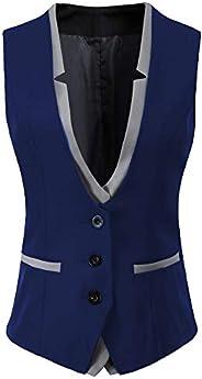 Womens V-Neck Slim Fit Business Office 3 Button Dressy Suit Vest Waistcoat