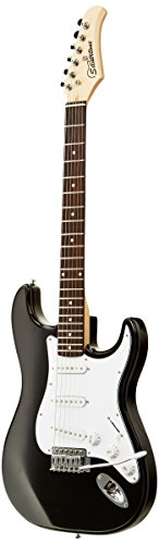 Silvertone SS15 BK Solid-Body Electric Guitar, Black Gloss
