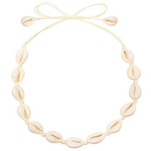 CUSVUEVI Womens Natural Shell Choker Necklace, Handmade Cowrie Shell Boho Beach Jewelry