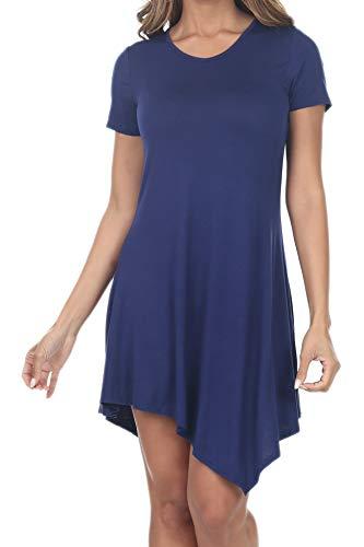 Handkerchief Top Hem - 7004 Womens Short Sleeve Flowy Tops Handkerchief Hem Tunic Shirts Loose Dress Navy 2XL