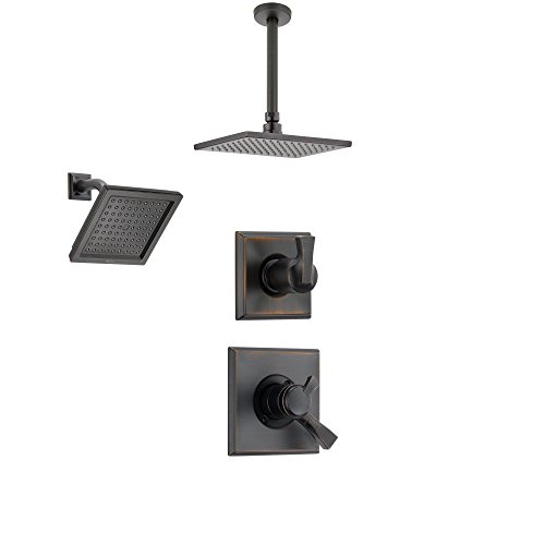 Delta Dryden Venetian Bronze Shower System with Dual Control Shower Handle, 3-setting Diverter, Large Modern Rain Square Shower Head, and Wall Mount Showerhead SS175184RB ()