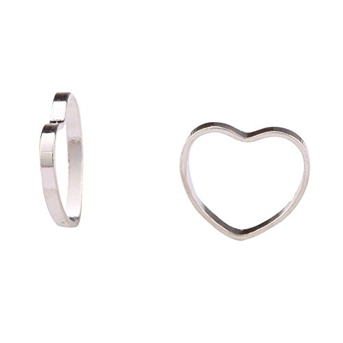 100 Top Quality Silver Heart Ring Charm Beads Connectors 9mm Sterling Silver plated Cooper CF130 ()