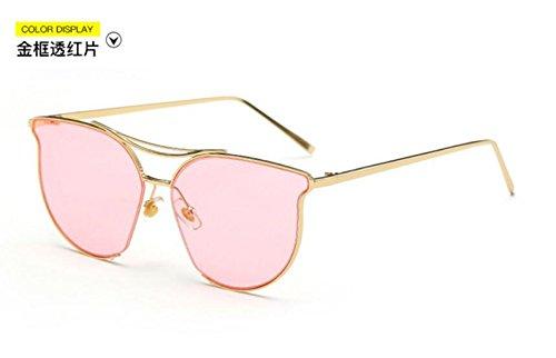 de gafas y through frame de gafas gafas marea metal reflexivo señoras moda Estados los Unidos retro Gold sol Europa personalidad color de film red brillante sol LSHGYJ GLSYJ 0wEfPP