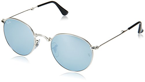 Ray-Ban METAL MAN SUNGLASS - SILVER Frame LIGHT GREEN MIRROR SILVER Lenses 47mm - Ray Frame Bans Round