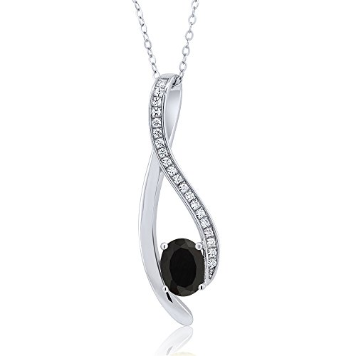 1.5 Inch Oval Shaped Gemstone Infinity Pendant With White Zirconia & 18 Inch Chain