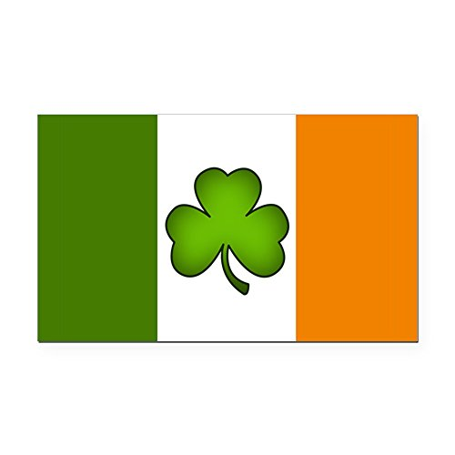 CafePress - Irish Flag Shamrock Rectangle Car Magnet - Rectangle Car Magnet, Magnetic Bumper Sticker ()