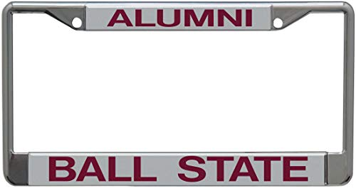 WinCraft Ball State University Alumni Premium License Plate Frame, Chrome with 2 Mount Holes