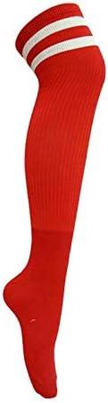 スポーツソックス 靴下 大人の子供のサッカーソックスニーソックス上の長いチューブソックス卸売薄いセクション耐摩耗性高弾性スポーツソックス (Color : Red, Size : Adult code)
