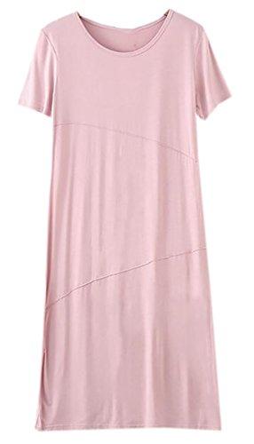 96c9d5a1b647 BLTR-Women Short Sleeve Casual Plain Flowy Summer Tunic T-Shirt Dress at  Amazon Women's Clothing store: