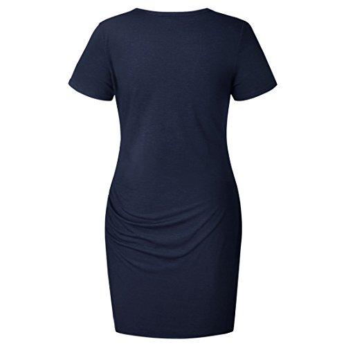 Dress A Summer Sleeve Short Line Blue Vintage Women's Wrap Casual Dark 4CBSPwq