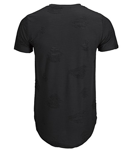 KLIEGOU Mens Hipster Hip Hop Ripped Round Hemline hole T Shirt(1705) (Large, Black)