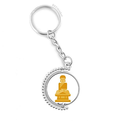Korea Big Buddha Rotatable Key Chain Ring Keyholder