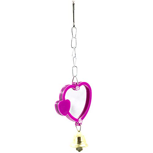 (YINGGE Bird Mirror Toys with Bell, Plastic Heart-Shaped Parrot Mirror Fun Toy for Small and Medium Parrots Parakeets,Cockatiels,Lovebirds,Conures)