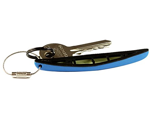 Canoe Keychain 5 New Colors - Flexible Plastic and Stainless Steel Ring - Lightweight Conoe Key Chain Accessories (BLUE) (Boat Show Rack Kayak)