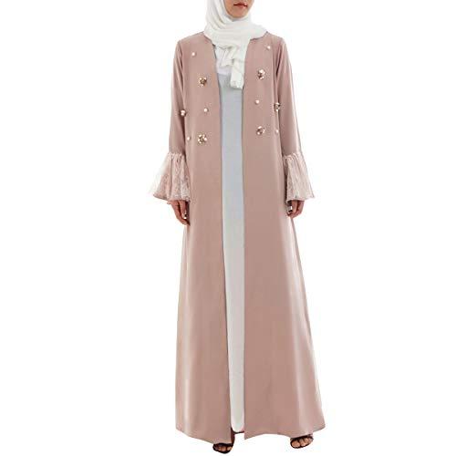 Sleeve Bata Fare Mujer Robe Musulmana Gotfeelin Pink Para Abaya Retro Pearl CIqSX1n0wx