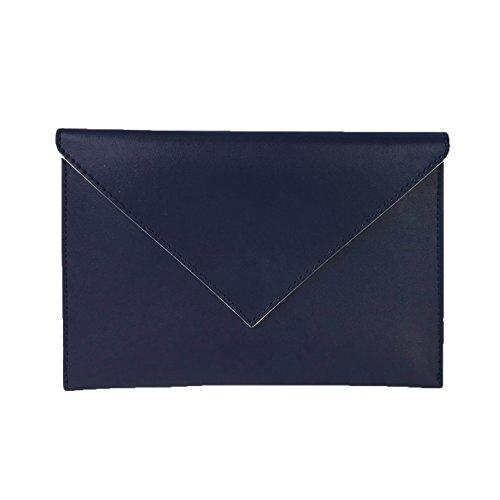 Vera Bradley Faux Leather Slim Envelope Clutch, Classic (Blue Leather Clutch)