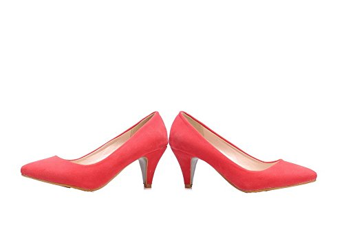 AllhqFashion Womens Pull-On Kitten-Heels Frosted Solid Closed-Toe Pumps-Shoes Watermelonred S1ObbQ