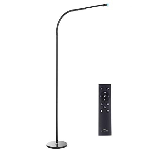 Joly Joy LED Modern Floor Lamps, Flexible Gooseneck Standing Reading Light W/Stable Base, 4 Color & 5 Brightness Dimmer, Touch & Remote Control, for Living Room, Chair, Couch, Office Task (Black)