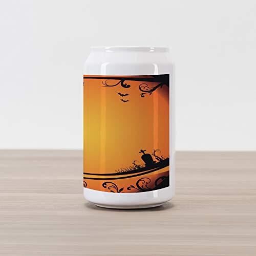 (Ambesonne Vintage Halloween Cola Can Shape Piggy Bank, Halloween Themed Image Eerie Atmosphere Gravestone Evil Pumpkin Moon, Ceramic Cola Shaped Coin Box Money Bank for Cash Saving, Orange)
