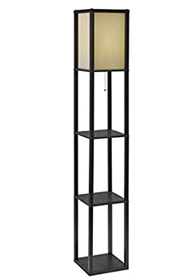 "Adesso 3138-01 Wright 63"" Floor Lamp – Smart Switch Compatible Light Fixtures with 2 Storage Shelves. Lighting Accessories"
