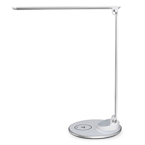 TaoTronics Eye-Caring Metal LED Desk Lamp with Fast Wireless Charger for for iPhone, Samsung and All Qi-Enabled Devices, 5 Color Modes with 5 Brightness Levels, USB Port