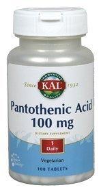 Panothenic Acid 100mg Kal 100 Tabs by Kal (Tabs Acid 100 Mg)
