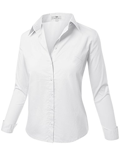 Meilleur Mode Basic Junior Fit Long Sleeve Button-Down T Shirts White - Size Small Junior