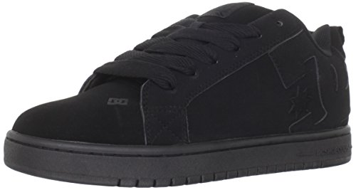 DC Men's Court Graffik Skate Shoe, Black/Black/Black, 10 M US