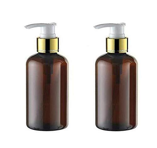 2Pcs 220ml/7oz Empty Refillable Plastic Press Pump Bottle Cosmetic Cream Lotion Storage Dispenser Vial Jars For Bath Shower Shampoo Conditioner Liquid Soap Toiletri(Brown) ()