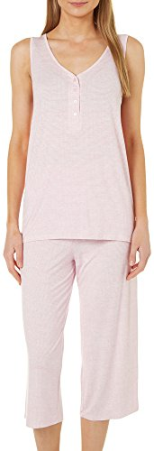 Stripe Henley Tank - Jaclyn Intimates Womens 2-pc. Stripe Henley Tank Pajama Set Large Pink/White