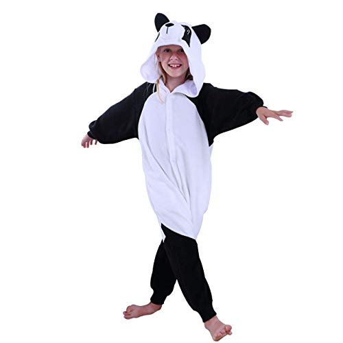COCOPLAY Kids Panda Onesie Pajamas Cosplay Costume Halloween Girls Boys (10#, Black/White) -