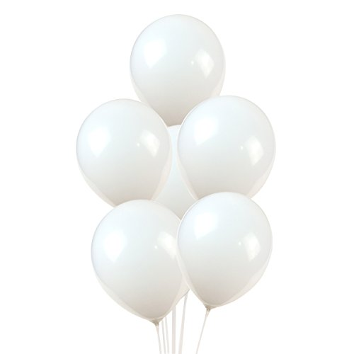100 Premium Quality Balloons: 12 inch white latex